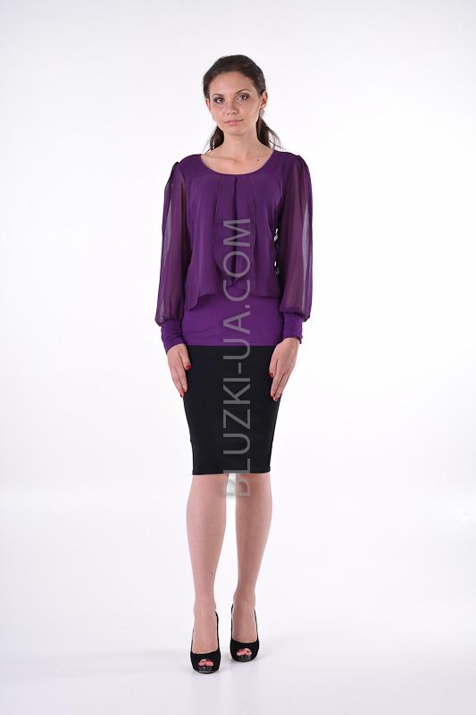 dd1b099160d Фиолетовая блуза с прозрачным епископским рукавом и очаровательными  шифоновыми драпировками - купить в Украине. Фото ...